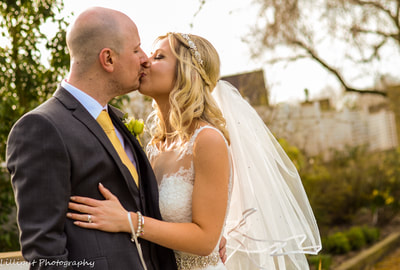 Romantic Warwick House bride and groom portrait