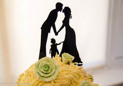 Bride and groom silhouette on wedding cake