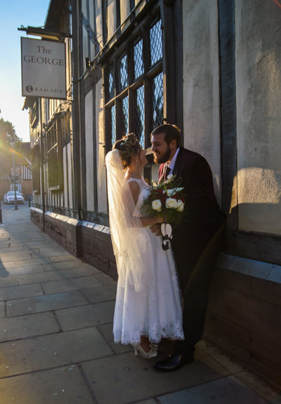 Sunset romantic bride and groom portraits summer wedding at Ramada Solihull