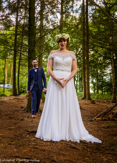 Bride and groom wedding portrait by Lilliput Photography, West Midlands Wedding Photographer  Woodland wedding ceremony